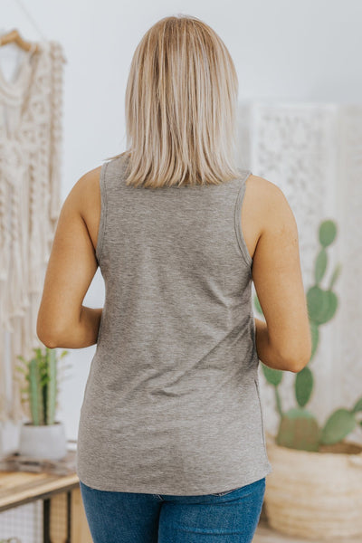 Sunshine Pocket Tank Top in Grey - Filly Flair