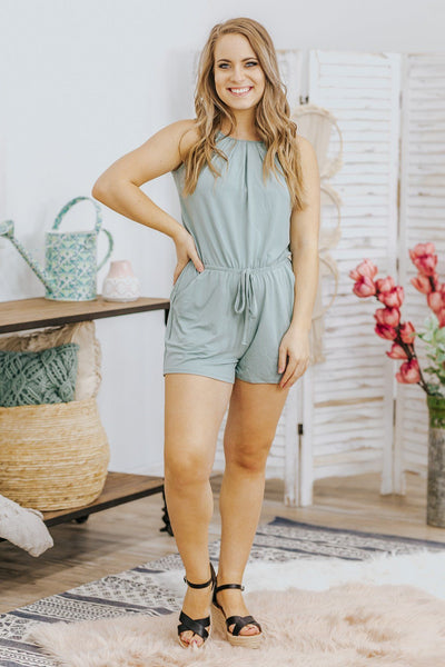 Never Stop Trying Sleeveless Elastic Waist Romper in Light Green - Filly Flair
