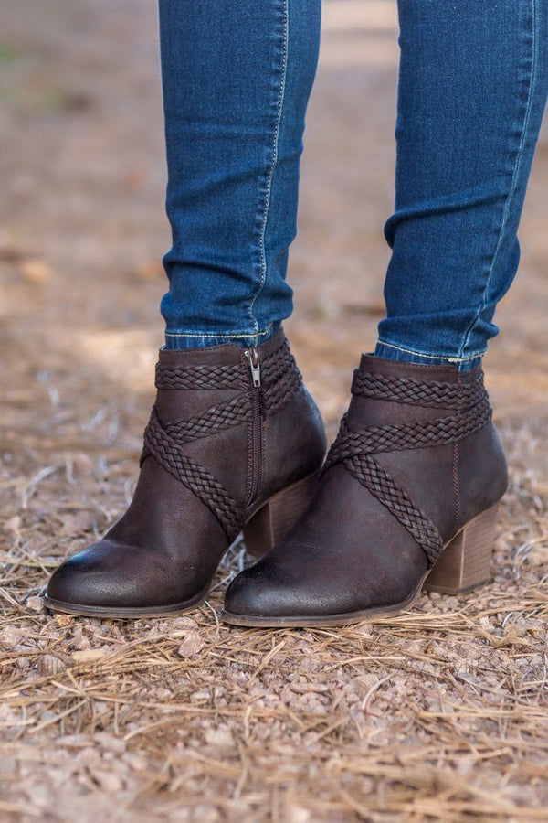 Brown Braided Detail Booties - Filly Flair