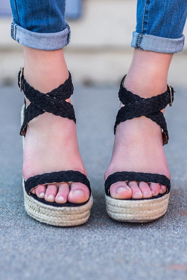 Comin' Home Braided Wedge In Black