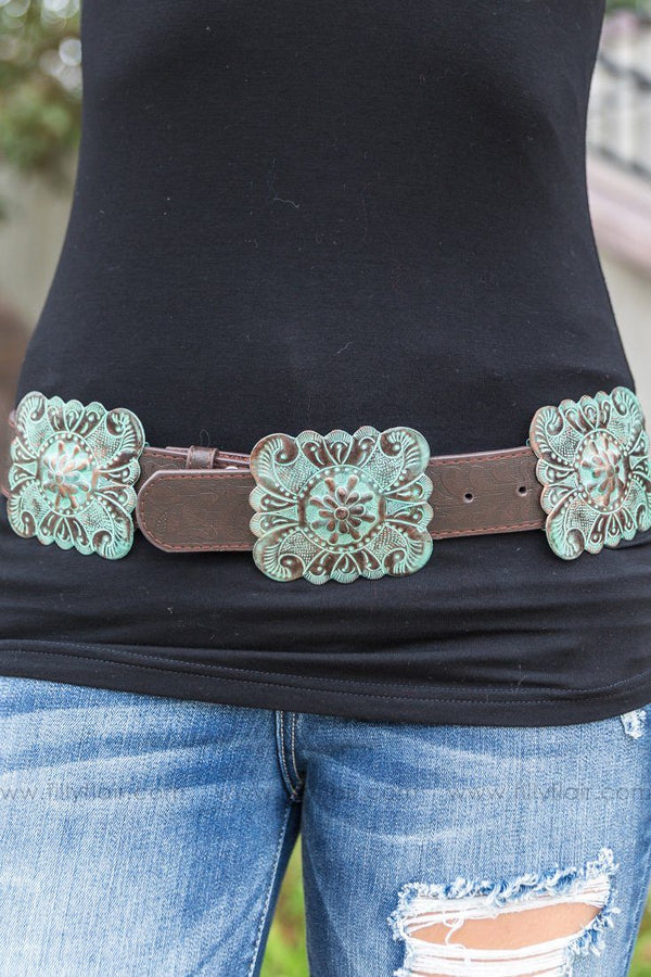 Country Crush Turquoise Bronze Square Concho Brown Leather Belt - Filly Flair