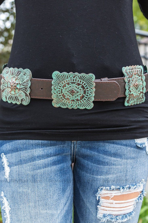 Country Crush Turquoise Bronze Concho Brown Leather Belt - Filly Flair