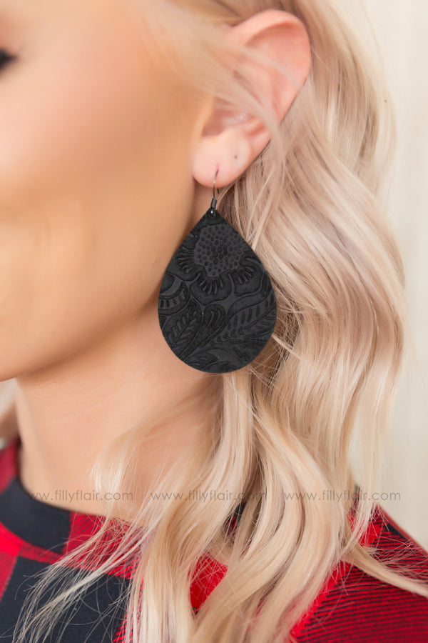 Etched Floral Leather Teardrop Earrings in Black - Filly Flair