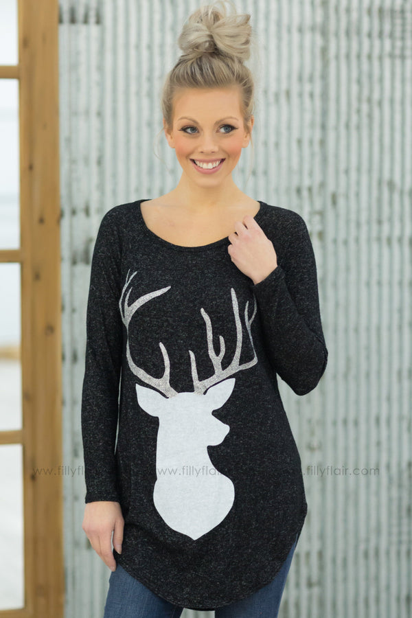 Enchanted Ride Long Sleeve Silver Reindeer Top in Heathered Black - Filly Flair