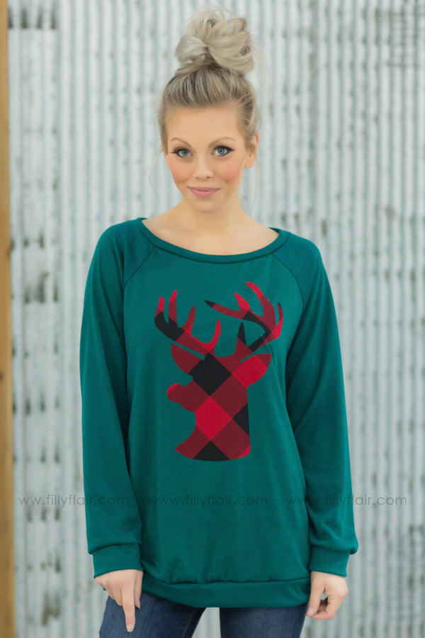 Reindeer Love Long Sleeve Red Plaid Top in Emerald Green - Filly Flair