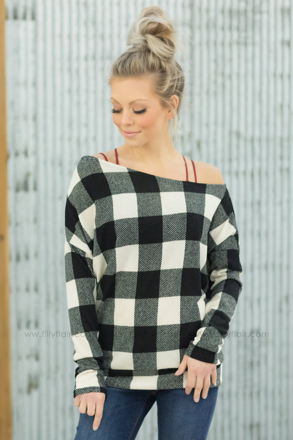 *Beauty In You Buffalo Plaid Off The Shoulder Top in Ivory* - Filly Flair