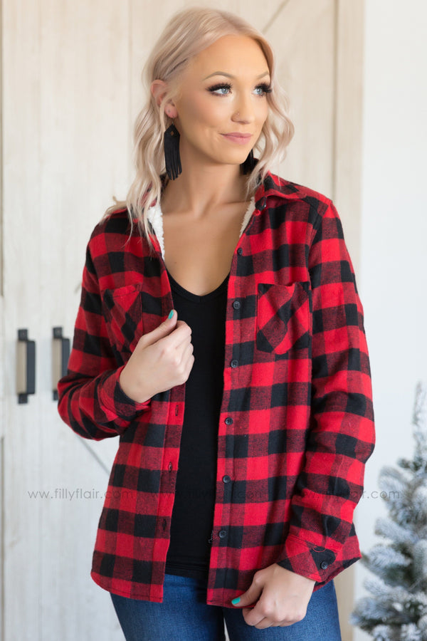 Pre-Order *Keeping Up Buffalo Plaid Flannel Long Sleeve Sherpa Lined Button Top in Red* Ships Apx 12.20 - Filly Flair