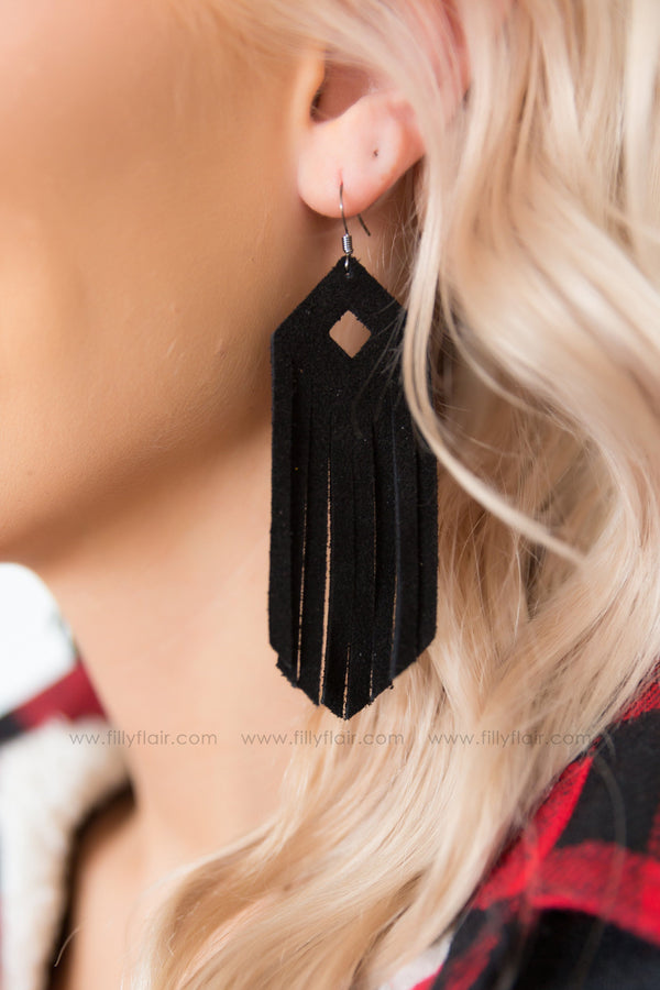 Southern Girl Black Leather Fringe Earrings - Filly Flair
