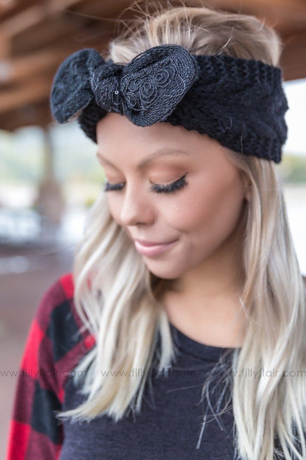 Pretty As Can Be Embellished Bow Headband in Black - Filly Flair