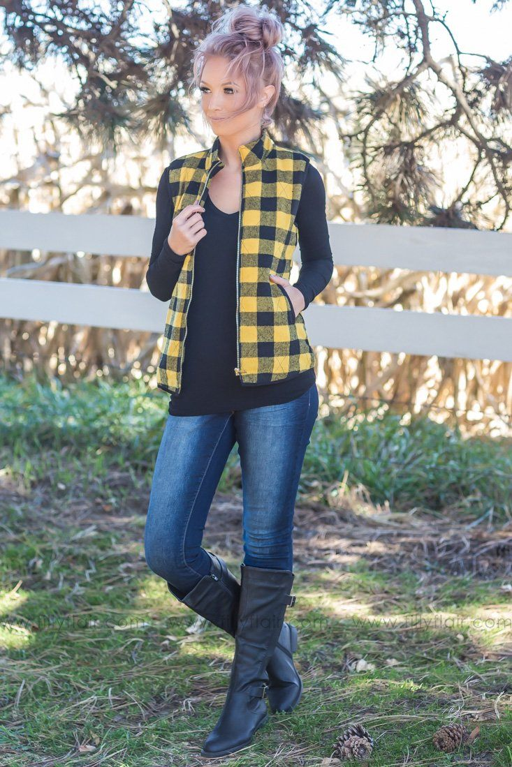Like It Is Buffalo Plaid Vest In Black Mustard - Filly Flair