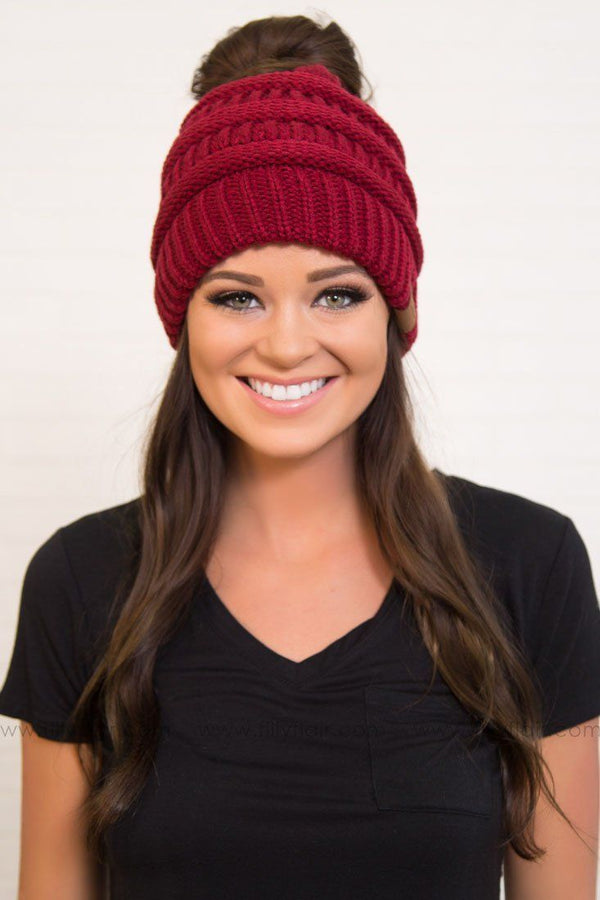 CC Beanie Ponytail in Burgundy