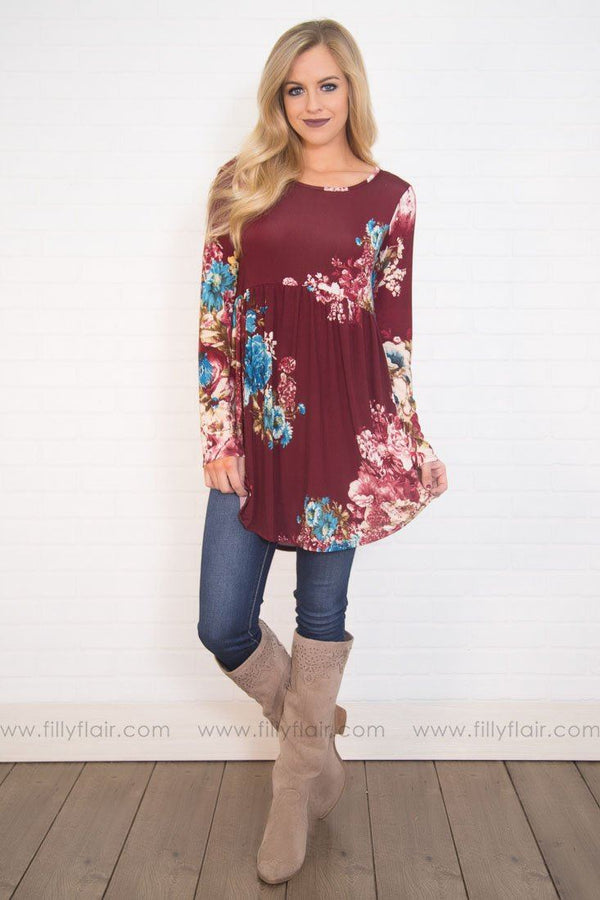 Next To You Long Sleeve Baby Doll Tunic In Burgundy Floral