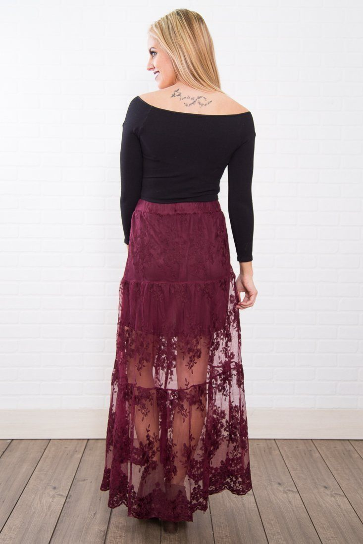 Runway Girl Button Up Lace Skirt In Burgundy