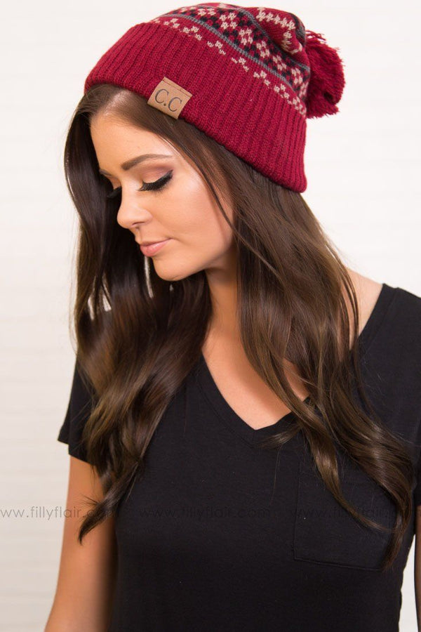 Snow Flake CC Pom Pom Beanie in Burgundy
