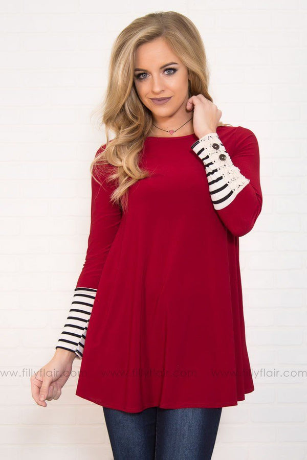 Off The Cuff Long Sleeve Tunic In Burgundy