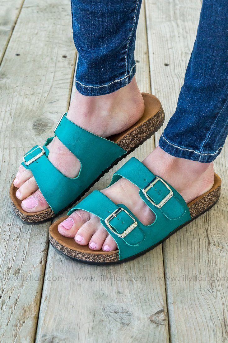Dare To Dream Double Strapped Sandal In Teal - Filly Flair