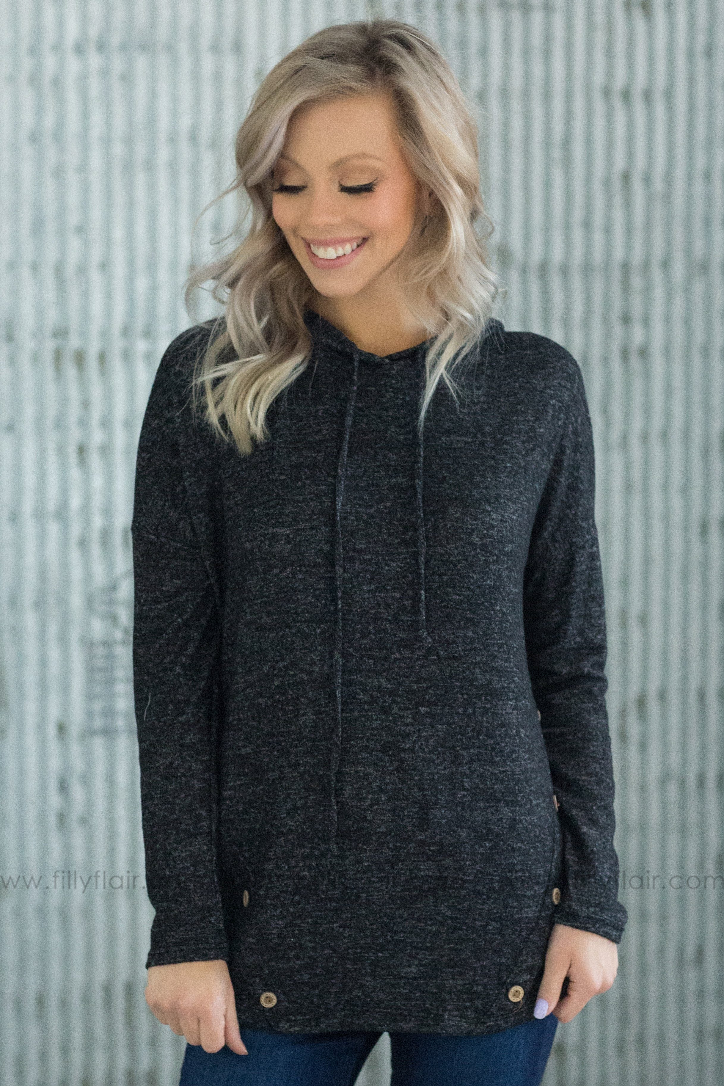 Show It Up Long Sleeve Button Detail Hooded Top in Black - Filly Flair
