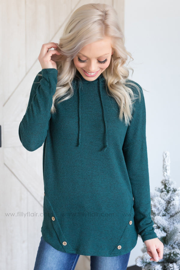 Show It Up Long Sleeve Button Detail Hooded Top in Hunter Green - Filly Flair