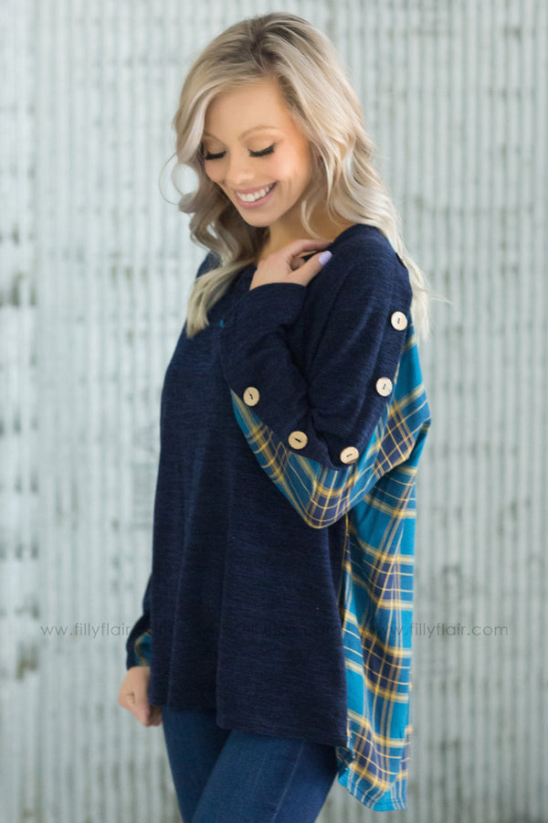 Just For You Long Sleeve Plaid Back Button Top in Navy - Filly Flair