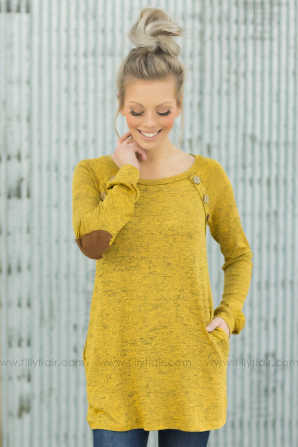 What I Need Long Sleeve Button Detail Elbow Patch Tunic In Mustard - Filly Flair