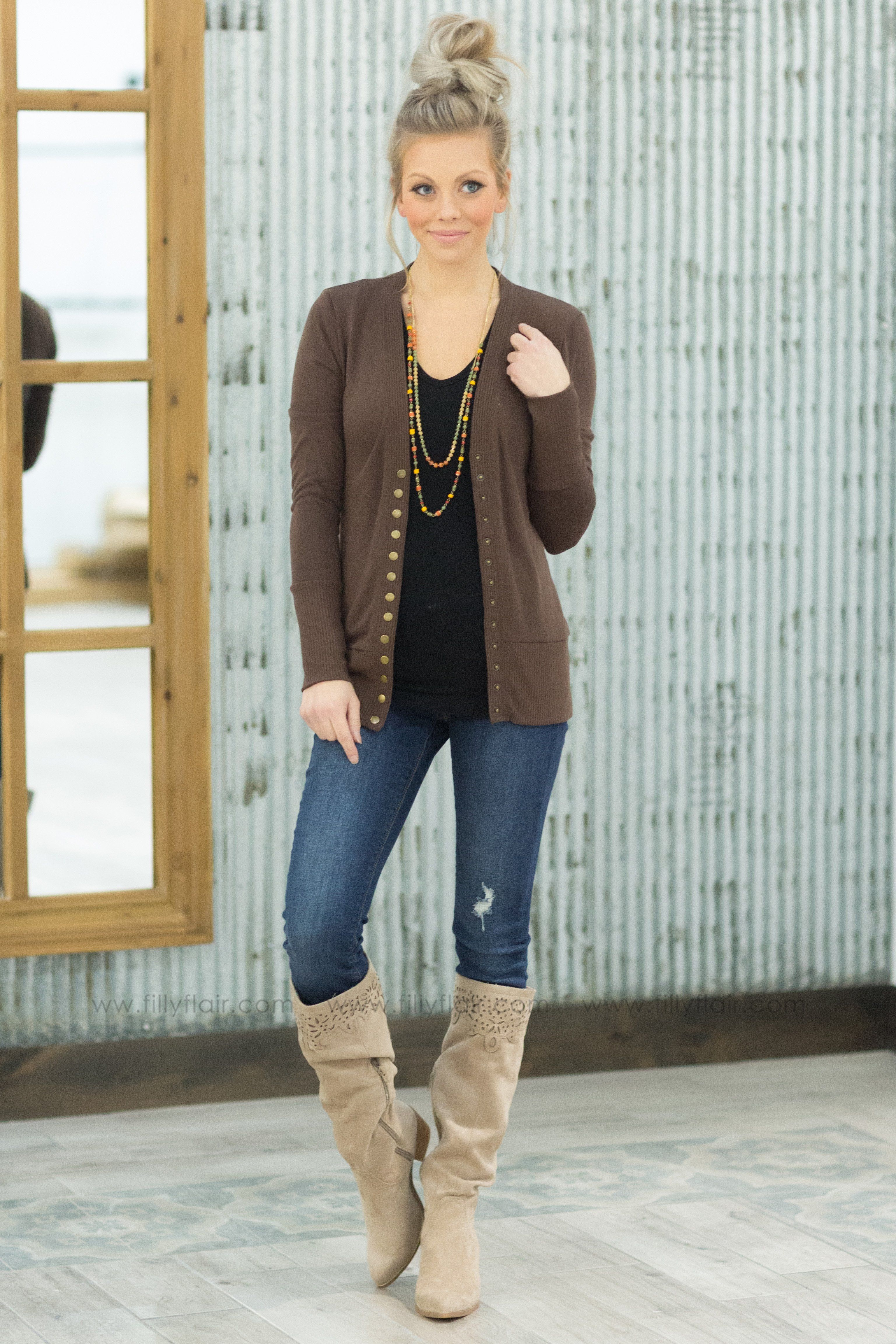 The Story of Us Button Up Cardigan in Brown* - Filly Flair