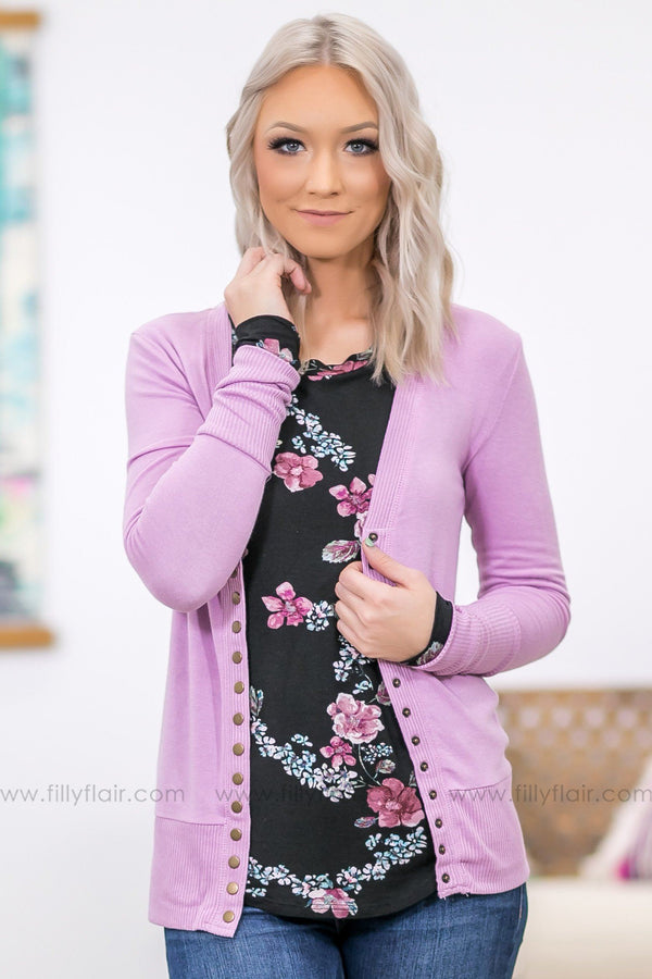 The Story Of Us Button Up Cardigan In Lilac - Filly Flair