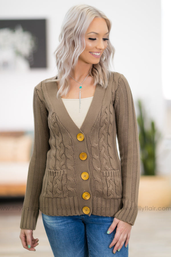 You Belong Here Long Sleeve Cable Knit Button Up Sweater in Mocha - Filly Flair