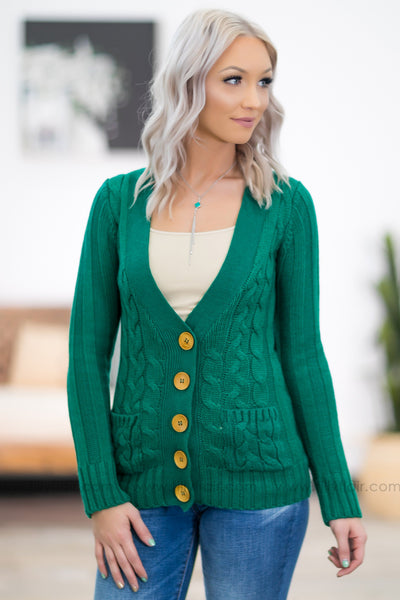 You Belong Here Long Sleeve Cable Knit Button Up Sweater in Green - Filly Flair