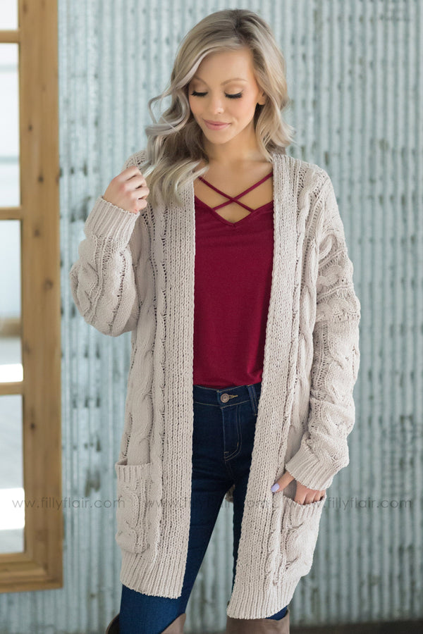 Take Me Away Pocket Open Sweater Cardigan in Taupe - Filly Flair
