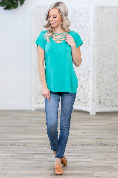 All We Ever Need Short Sleeve Criss Cross Top in Turquoise - Filly Flair