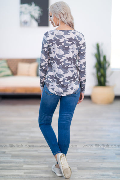Near and Far Long Sleeve Chest Pocket Camo Top in Grey - Filly Flair