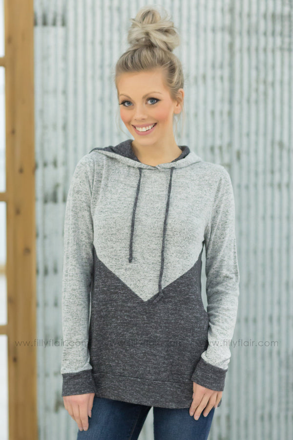 Remember Me Color Block Hooded Top in Grey Charcoal - Filly Flair