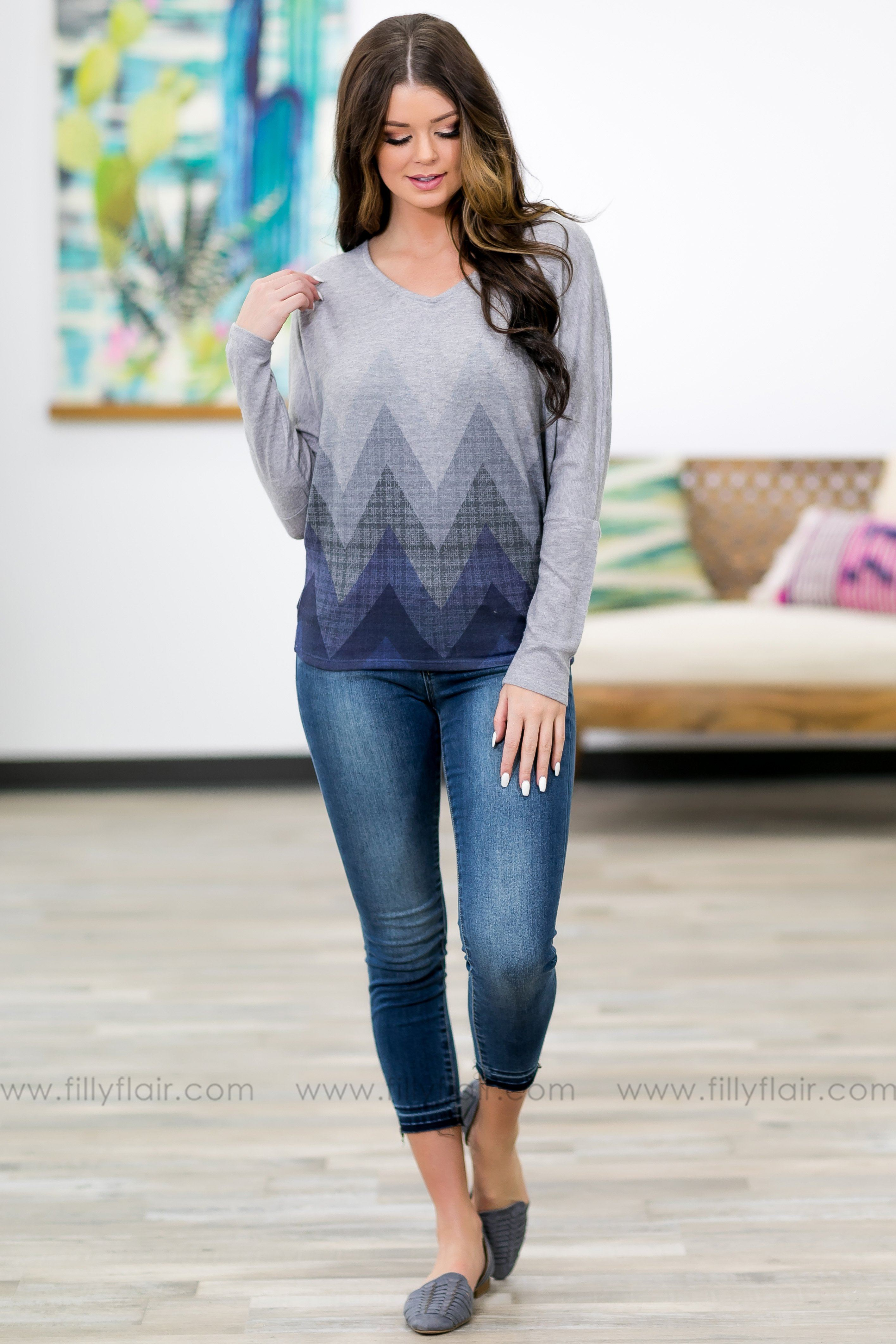 Seems To Me Navy Chevron Cross Back Dolman Top in Grey - Filly Flair