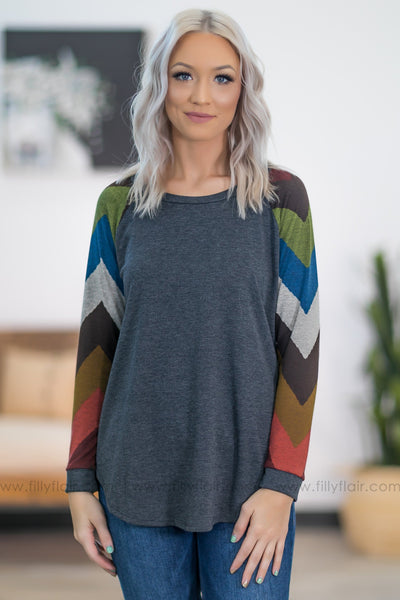 Too Hard to Forget Long Chevron Sleeve Top in Charcoal - Filly Flair