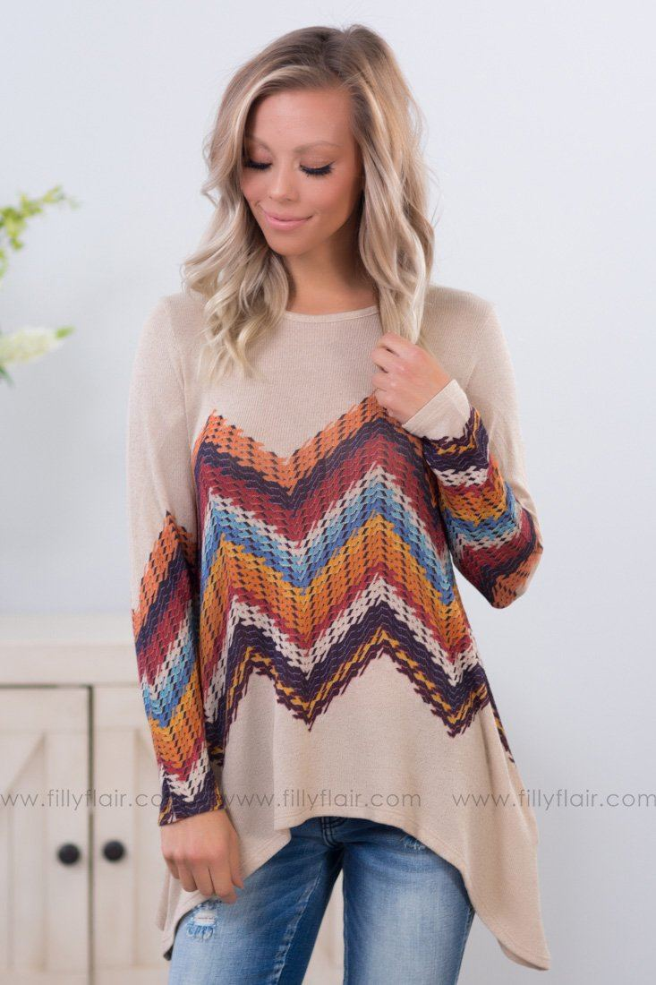 In Between Long Sleeve Chevron Top in Oatmeal - Filly Flair