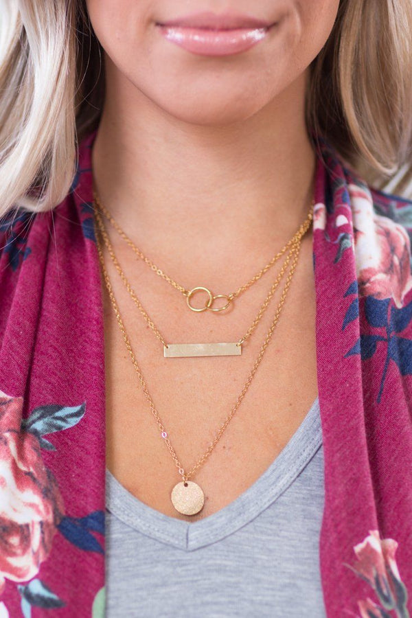 Got It All Together Circle and Bar Gold Layered Necklace - Filly Flair