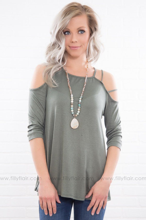 Good At Goodbyes Cut Out 3/4 Sleeve Top In Olive