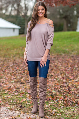 Take Care Oversized V-Neck Sweater In Mocha