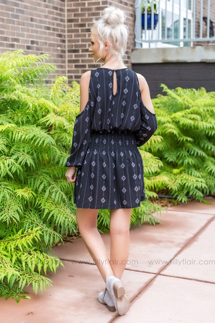 Real Beauty Cold Shoulder Printed Dress In Black - Filly Flair