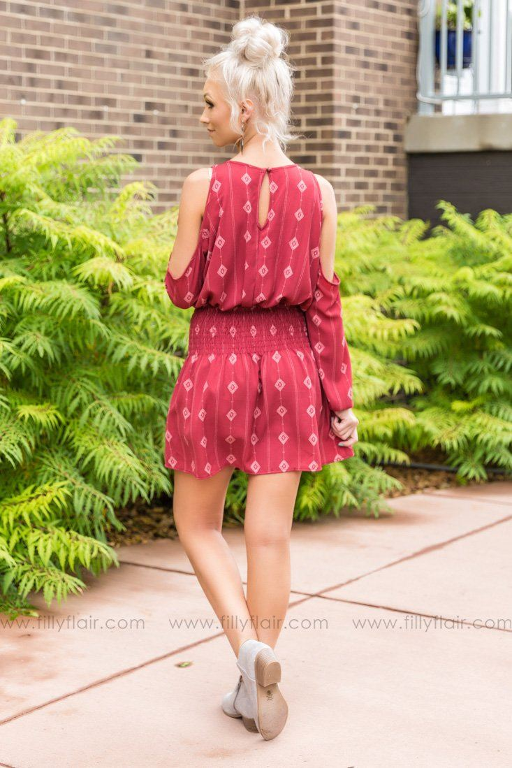 Real Beauty Cold Shoulder Printed Dress In Rust - Filly Flair
