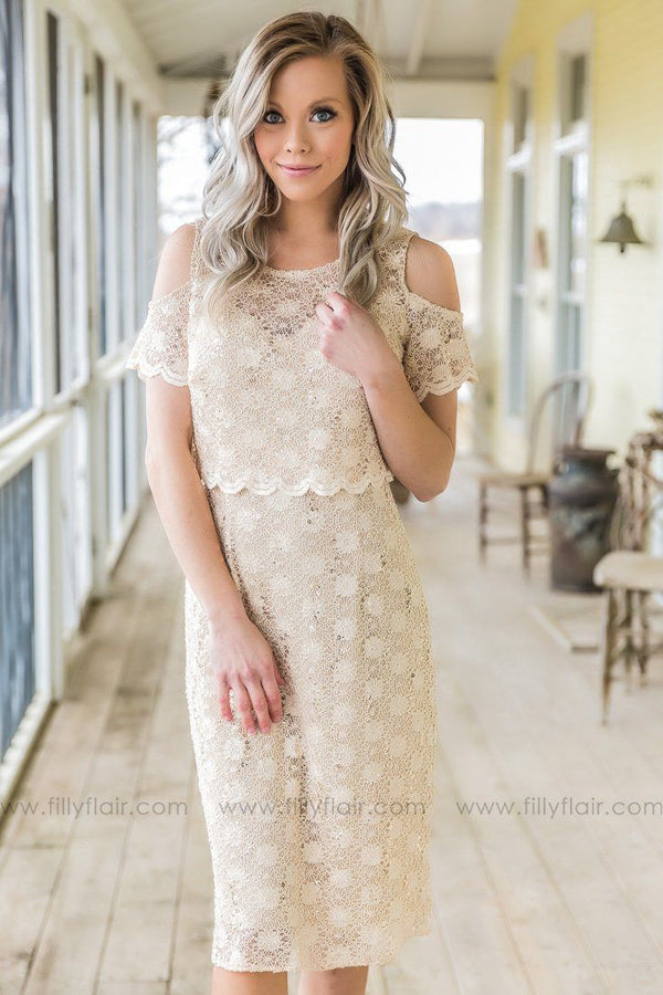 In Your Arms Cold Shoulder Sequin Lace Dress In Sand