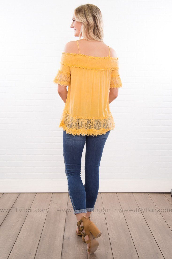 Fast Forward Smocked Frayed Top In Mustard