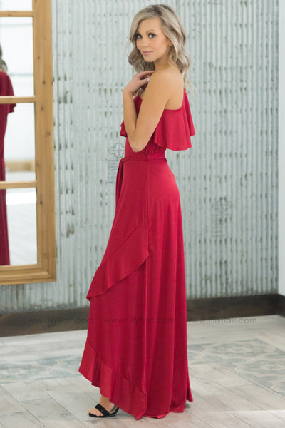 True Beauty One Shoulder Hi Low Ruffle Tie Dress In Red - Filly Flair