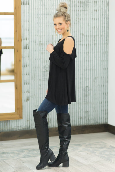 Simply You Ruffle Cold Shoulder Top in Black - Filly Flair