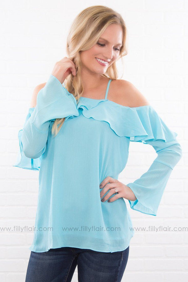 That Time Of Day Cold Shoulder Ruffle Top In Sky Blue
