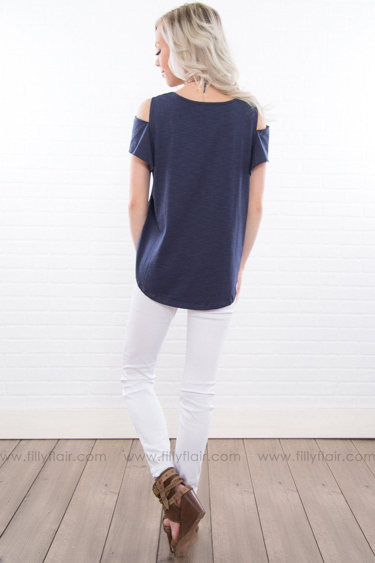 World On Fire Cold Shoulder Top In Navy