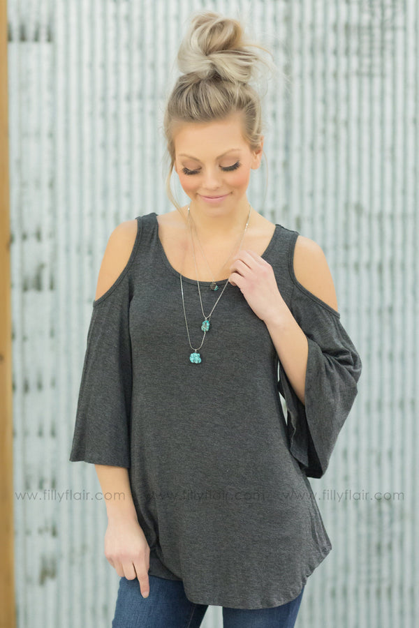 Lose Control Cold Shoulder Top in Charcoal - Filly Flair