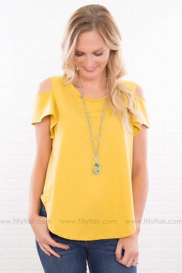 World On Fire Solid Cold Shoulder Top In Mustard