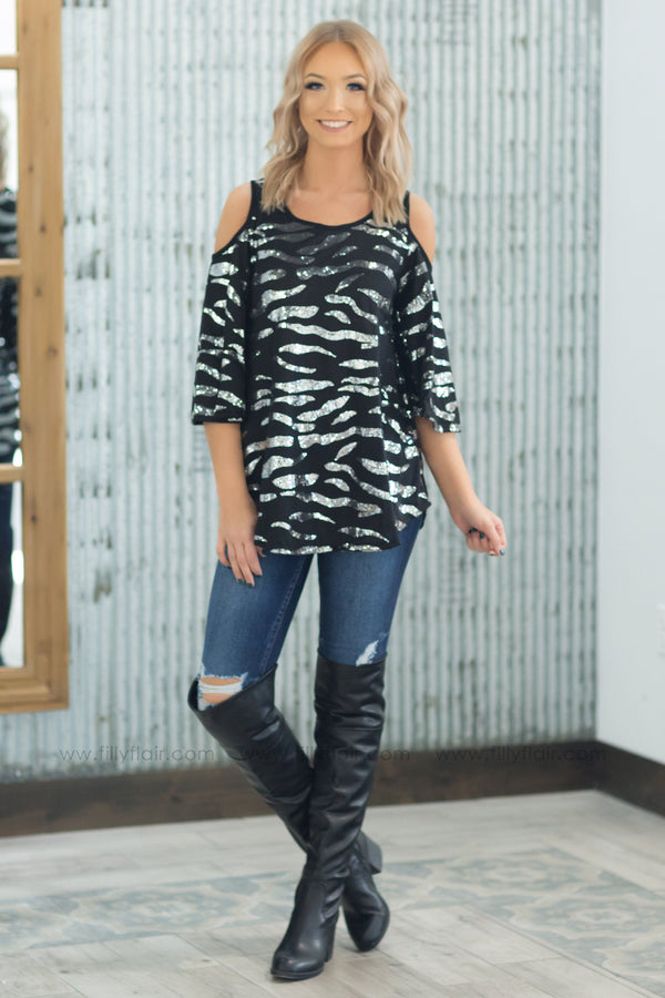 Shine Bright Silver Sequin Cold Shoulder Top in Black - Filly Flair