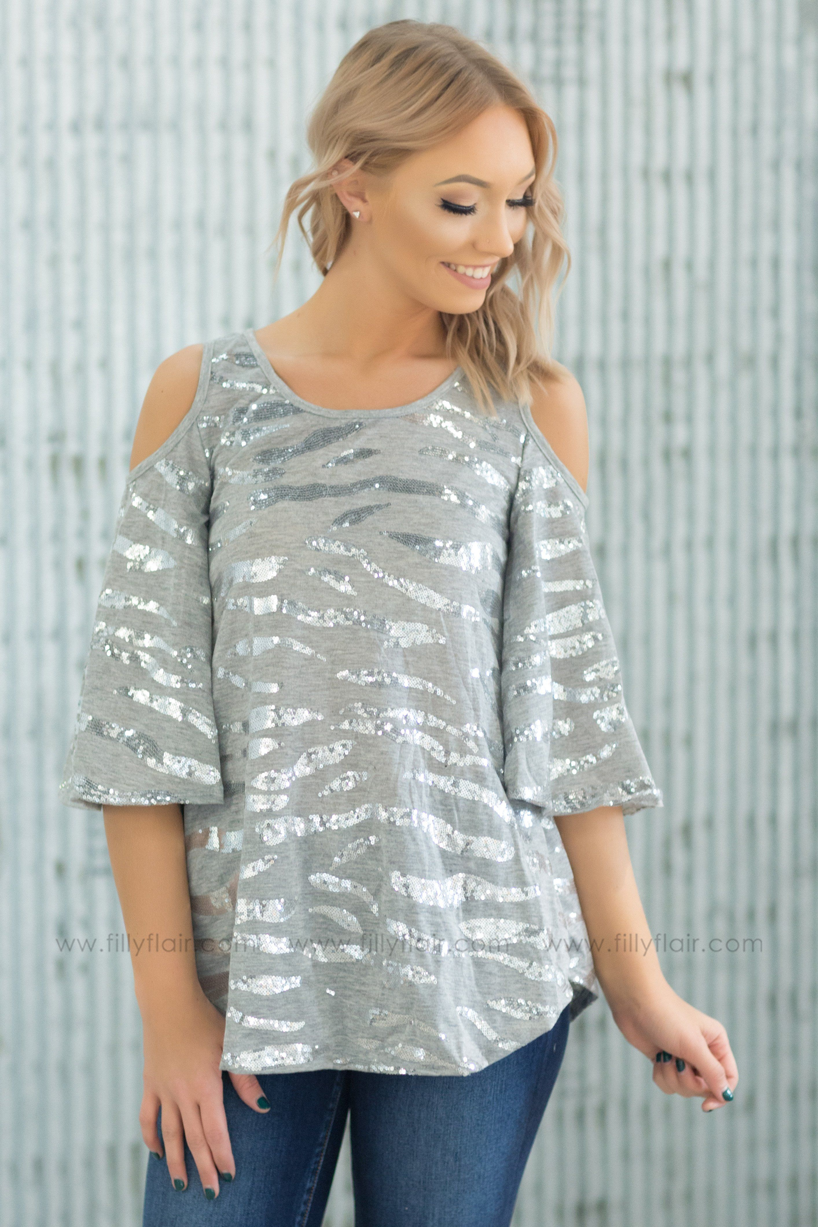 Shine Bright Silver Sequin Cold Shoulder Top in Grey - Filly Flair